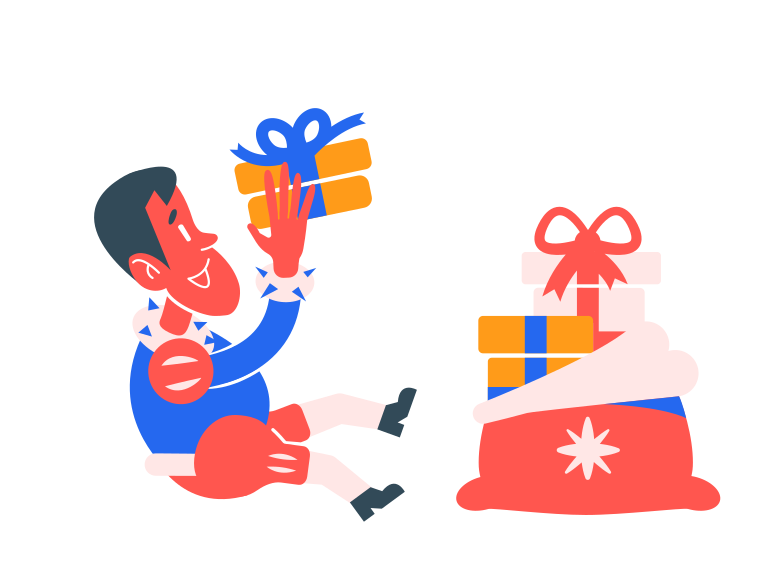 Getting presents Clipart illustration in PNG, SVG