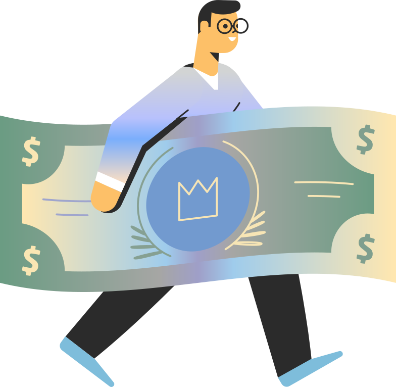 payment processed  man with money Clipart illustration in PNG, SVG