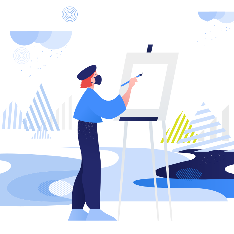 style Girl paints in open air. During pandemic. Plein air Vector images in PNG and SVG | Icons8 Illustrations
