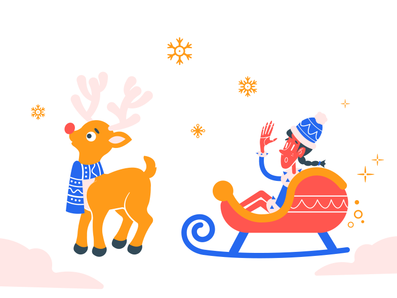 Santa claus sleigh Clipart illustration in PNG, SVG