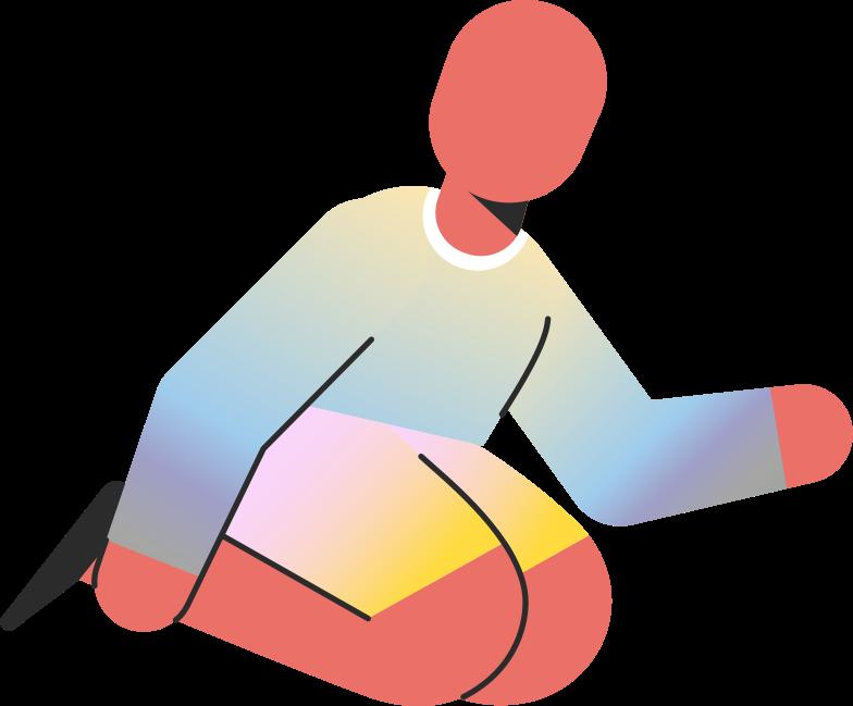 child sitting on knees Clipart illustration in PNG, SVG