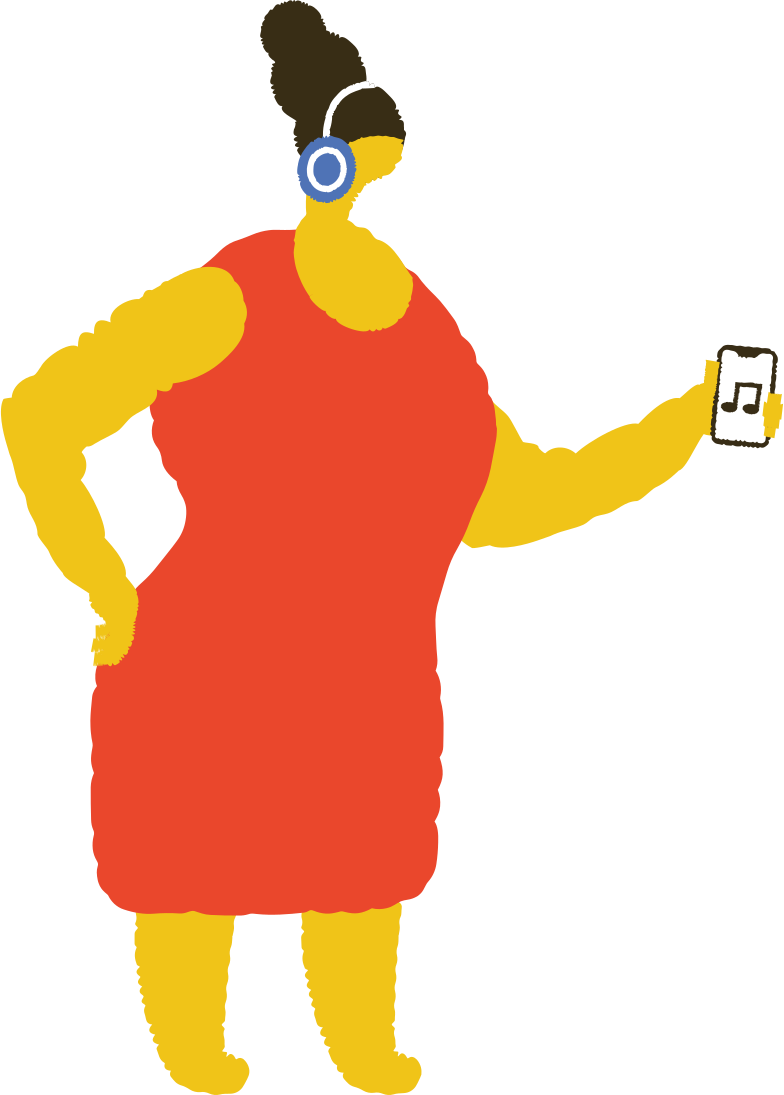 woman with headphones Clipart illustration in PNG, SVG