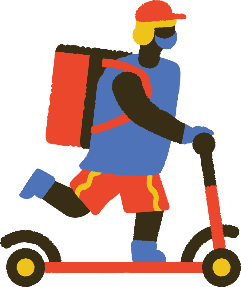 style masked food delivery man on kick scooter Vector images in PNG and SVG | Icons8 Illustrations