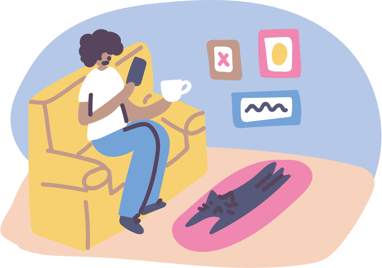 style Using smartphone, coffee break Vector images in PNG and SVG | Icons8 Illustrations