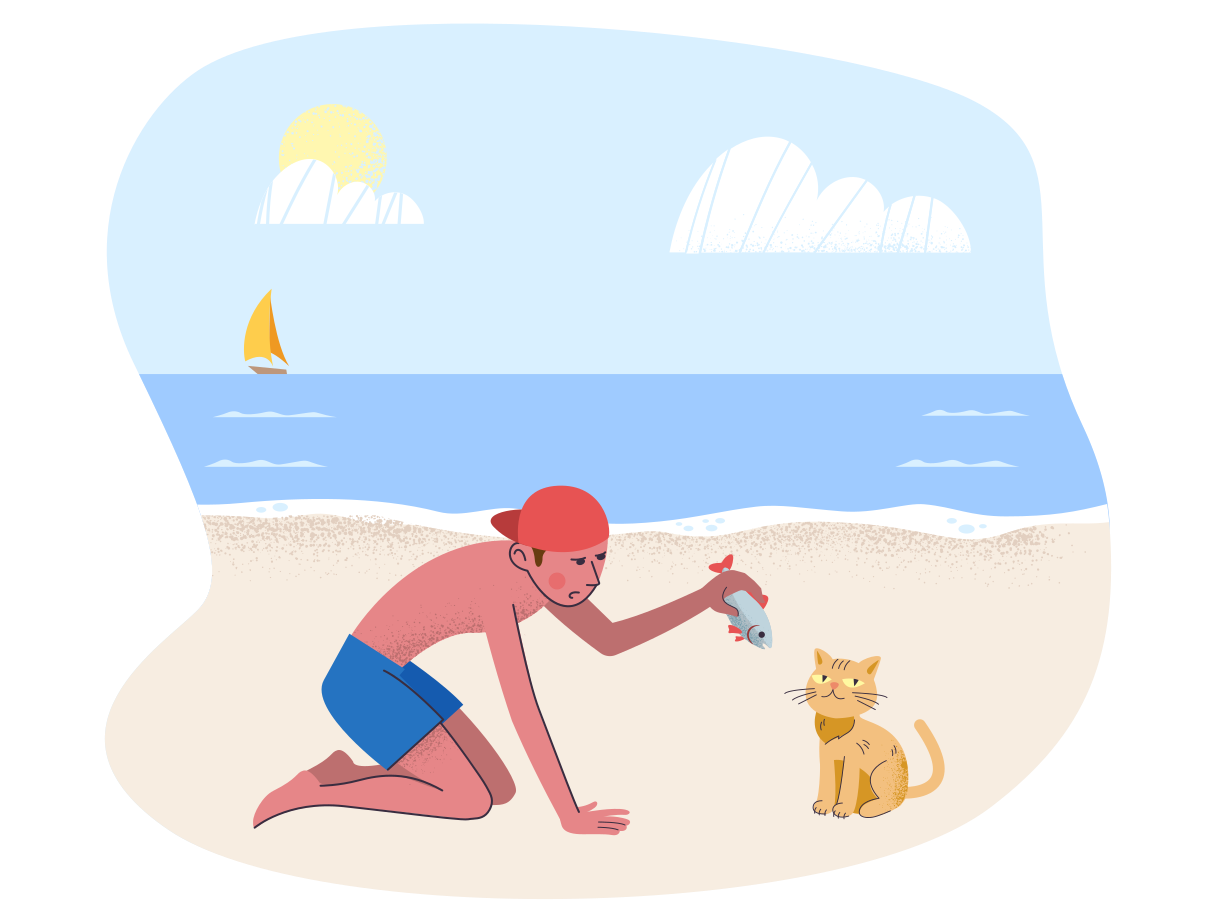 Not every cat likes fish Clipart illustration in PNG, SVG