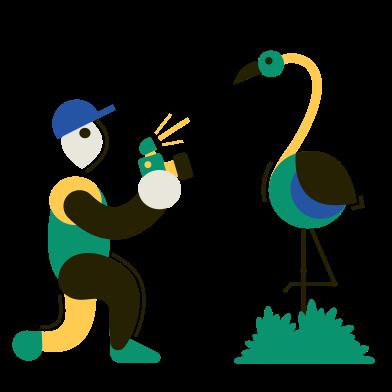 Иллюстрация Фотограф дикой природы в стиле  в PNG и SVG | Icons8 Иллюстрации