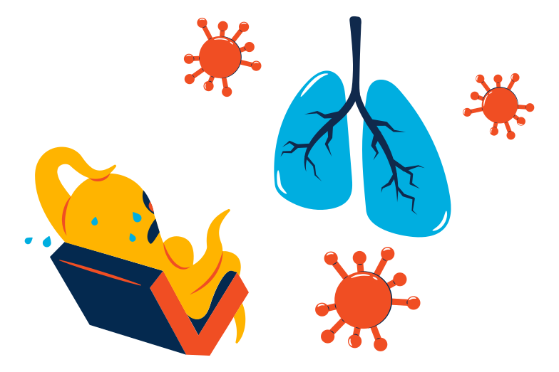 Virus attack lungs Clipart illustration in PNG, SVG