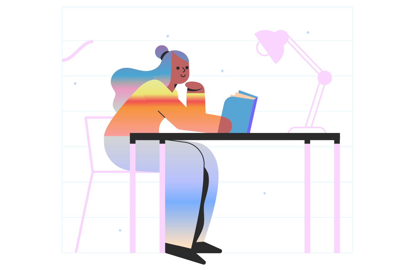 Reading a book Clipart illustration in PNG, SVG