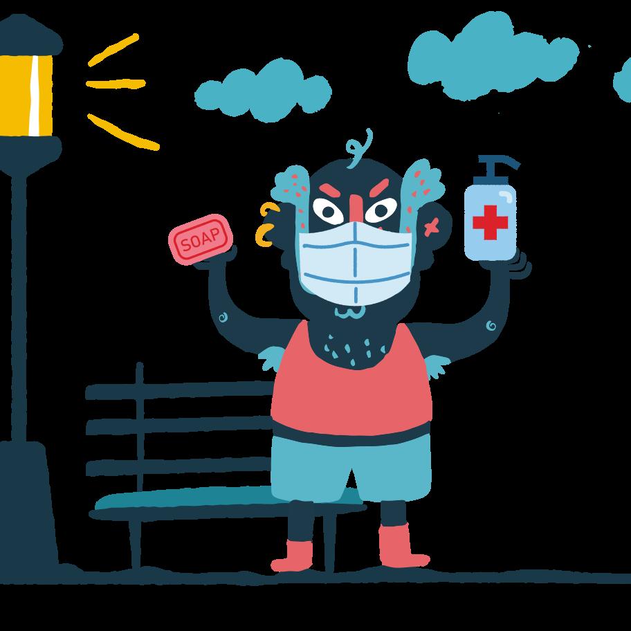 Ilustración de clipart de Old man holding soap and antibacterial agent in his hands en PNG, SVG