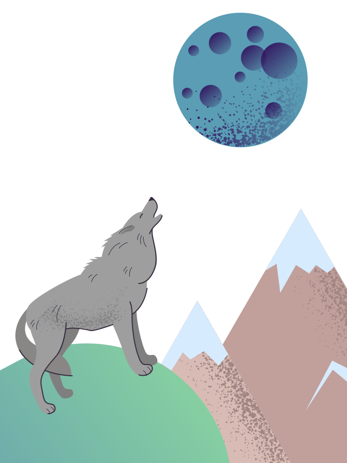 Howls to the moon Clipart illustration in PNG, SVG