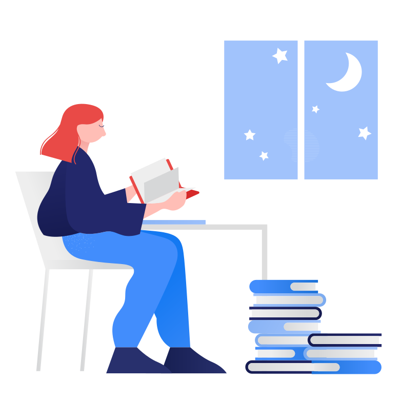 style Studying at night Vector images in PNG and SVG | Icons8 Illustrations