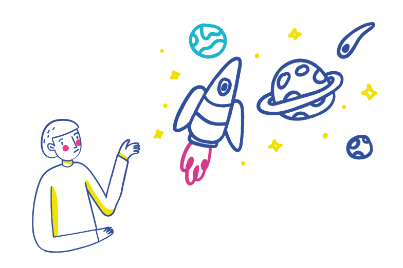 Thinking about the universe Clipart illustration in PNG, SVG