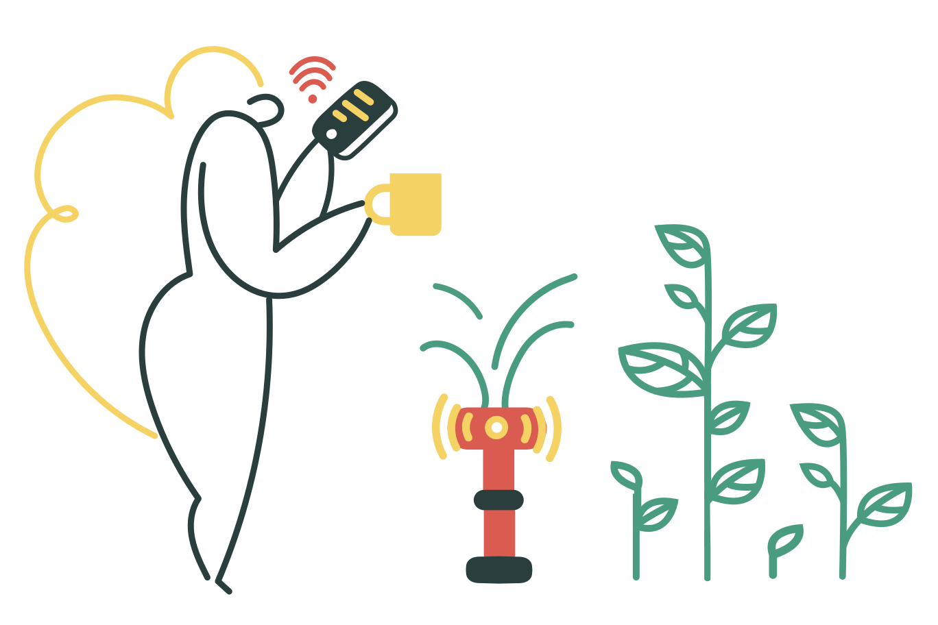 Smart watering system Clipart illustration in PNG, SVG