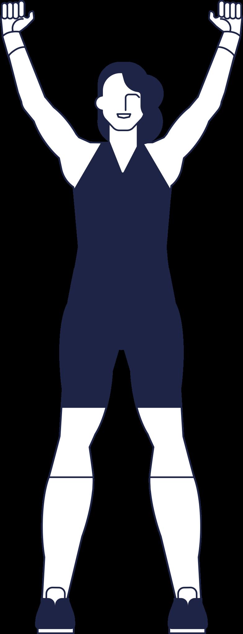 Linha de mulher atleta concluída Clipart illustration in PNG, SVG