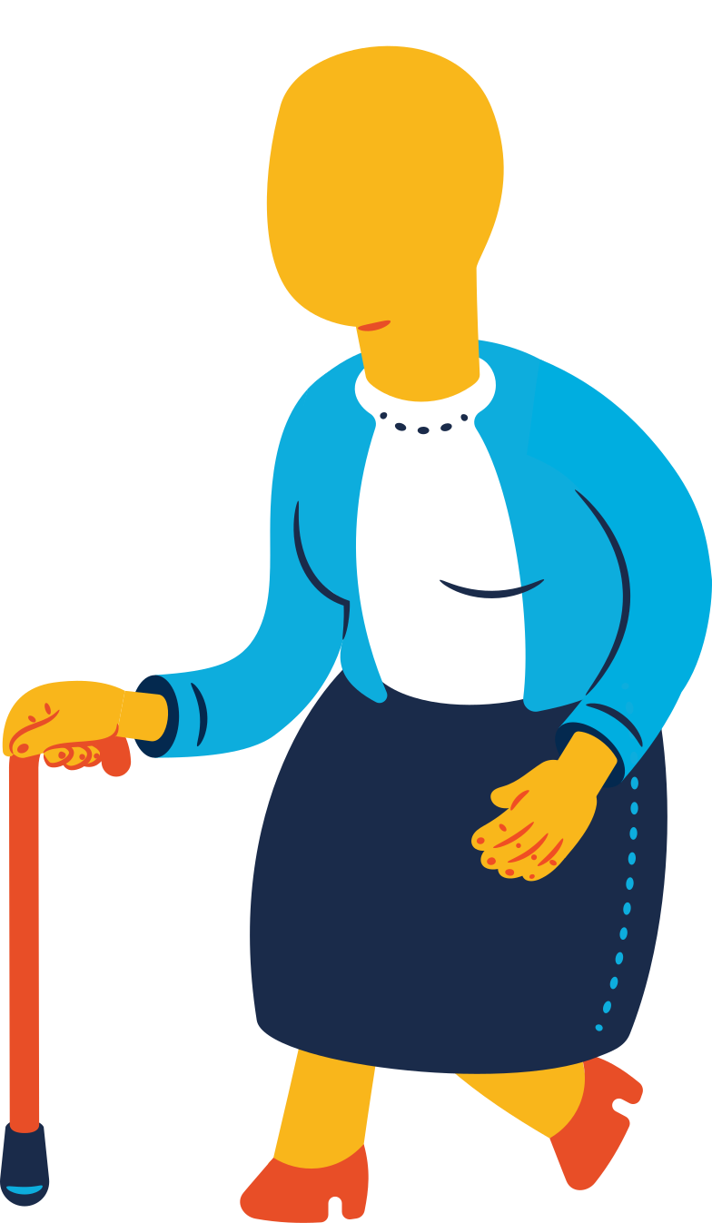 old woman walking Clipart illustration in PNG, SVG