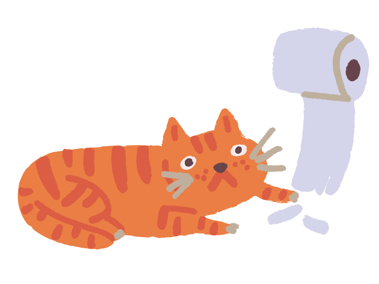 Cat plays with toilet paper Clipart illustration in PNG, SVG