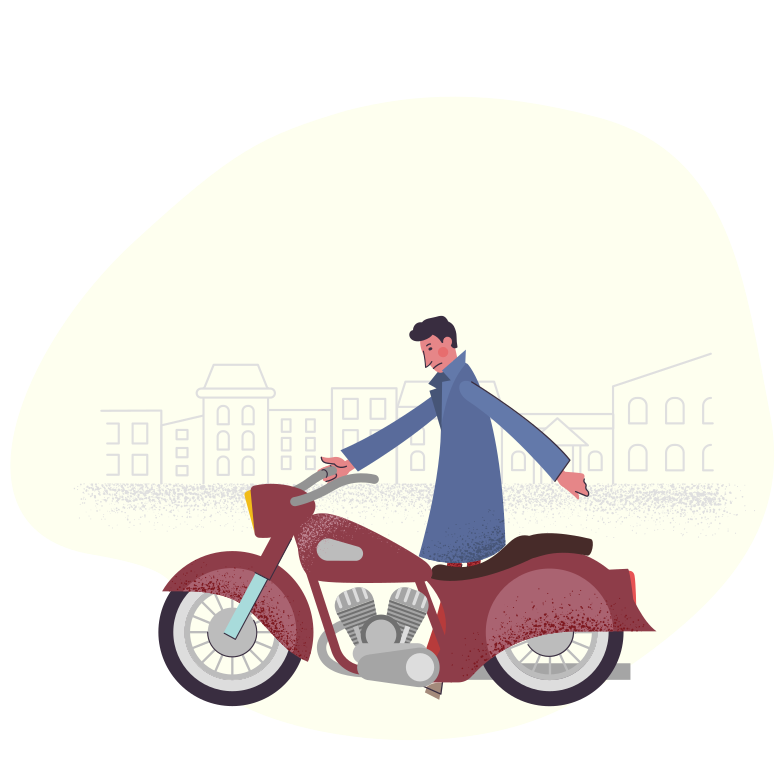 Motorcycle in the city Clipart illustration in PNG, SVG
