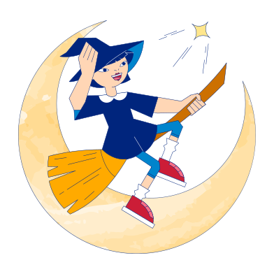 style Witch on broom images in PNG and SVG | Icons8 Illustrations
