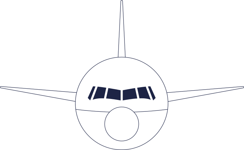 front of airplane line Clipart illustration in PNG, SVG