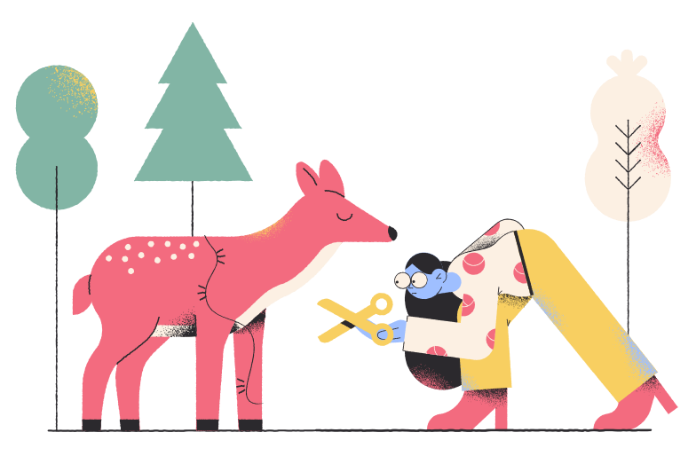 Caring about wildlife Clipart illustration in PNG, SVG