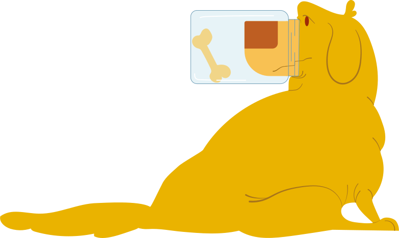 labrador with a jar on his nose Clipart illustration in PNG, SVG