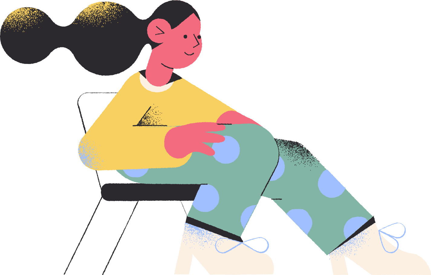 girl sitting chair Clipart illustration in PNG, SVG