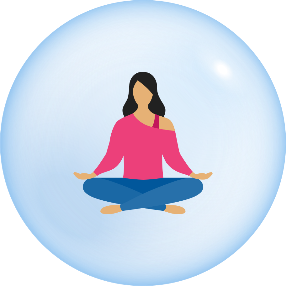woman in bubble self isolation Clipart illustration in PNG, SVG
