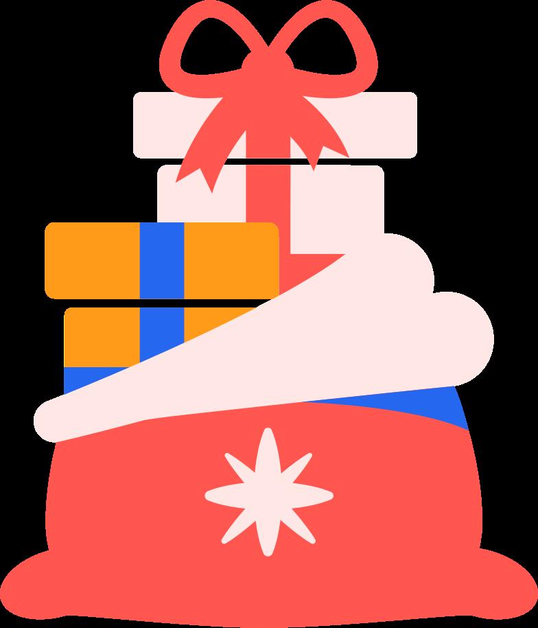 Ilustração de clipart de bag with presents em PNG e SVG