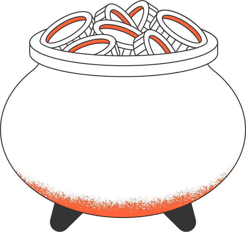 pot with coins Clipart illustration in PNG, SVG