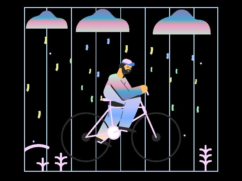 Imágenes vectoriales andar en bicicleta bajo la lluvia en PNG y SVG estilo  | Ilustraciones Icons8