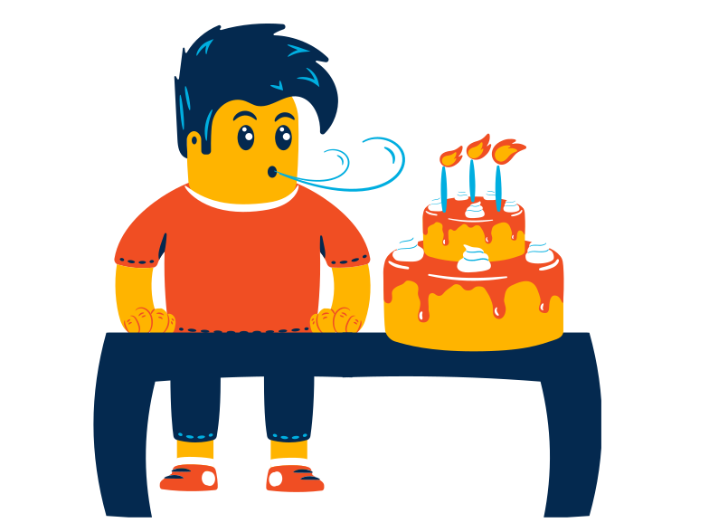 Boy celebrates his birthday Clipart illustration in PNG, SVG