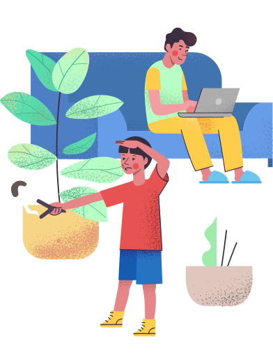 style Isolation: son entertain himself while father working remotely images in PNG and SVG | Icons8 Illustrations