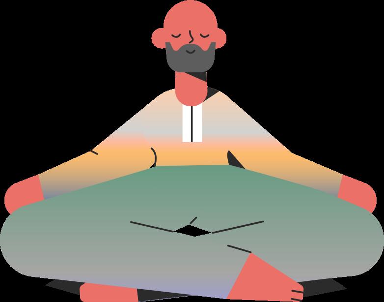 man meditation Clipart illustration in PNG, SVG