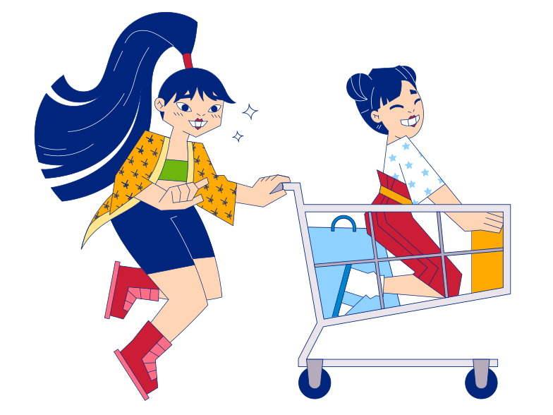 Shopping with a friend Clipart illustration in PNG, SVG