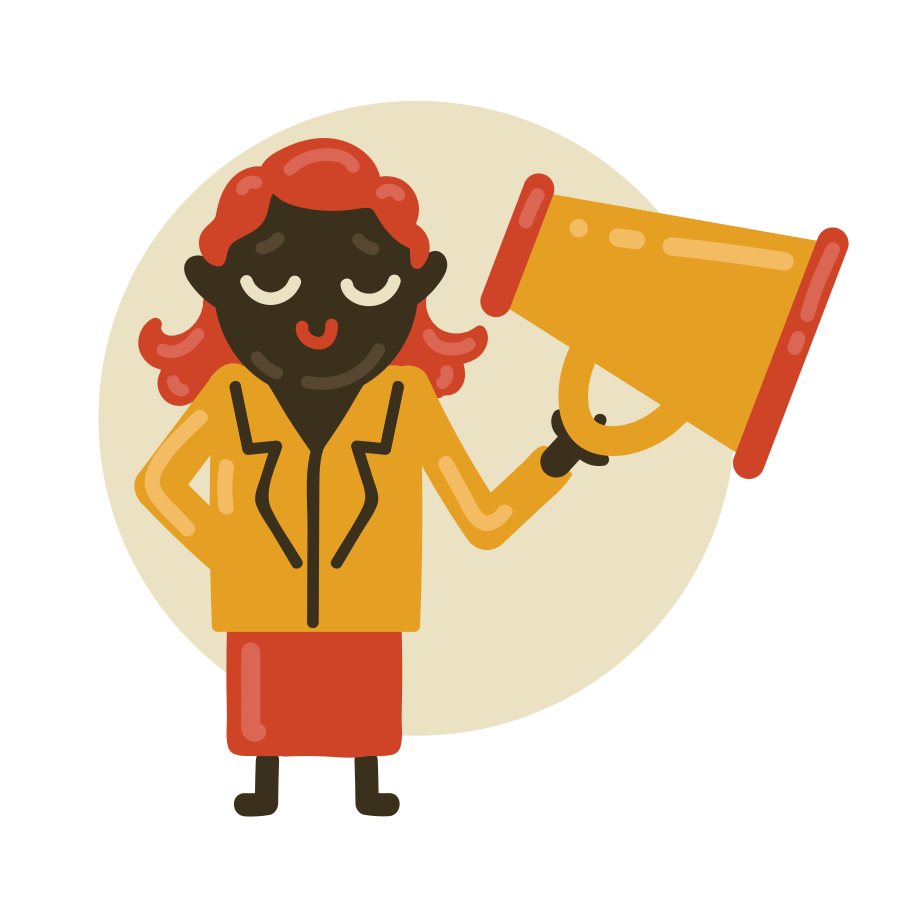 Teacher loudly announces something Clipart illustration in PNG, SVG