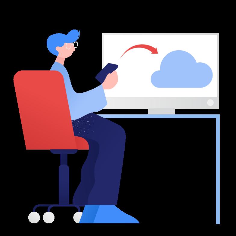 Клипарт Загрузка в облако в PNG и SVG