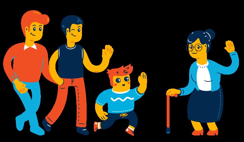 Visit to grandmother Clipart illustration in PNG, SVG