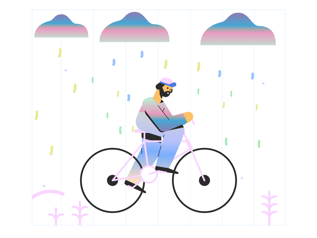 Biking in the rain Clipart illustration in PNG, SVG
