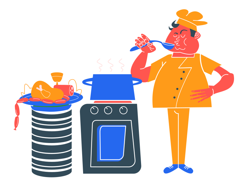 Chef at work Clipart illustration in PNG, SVG
