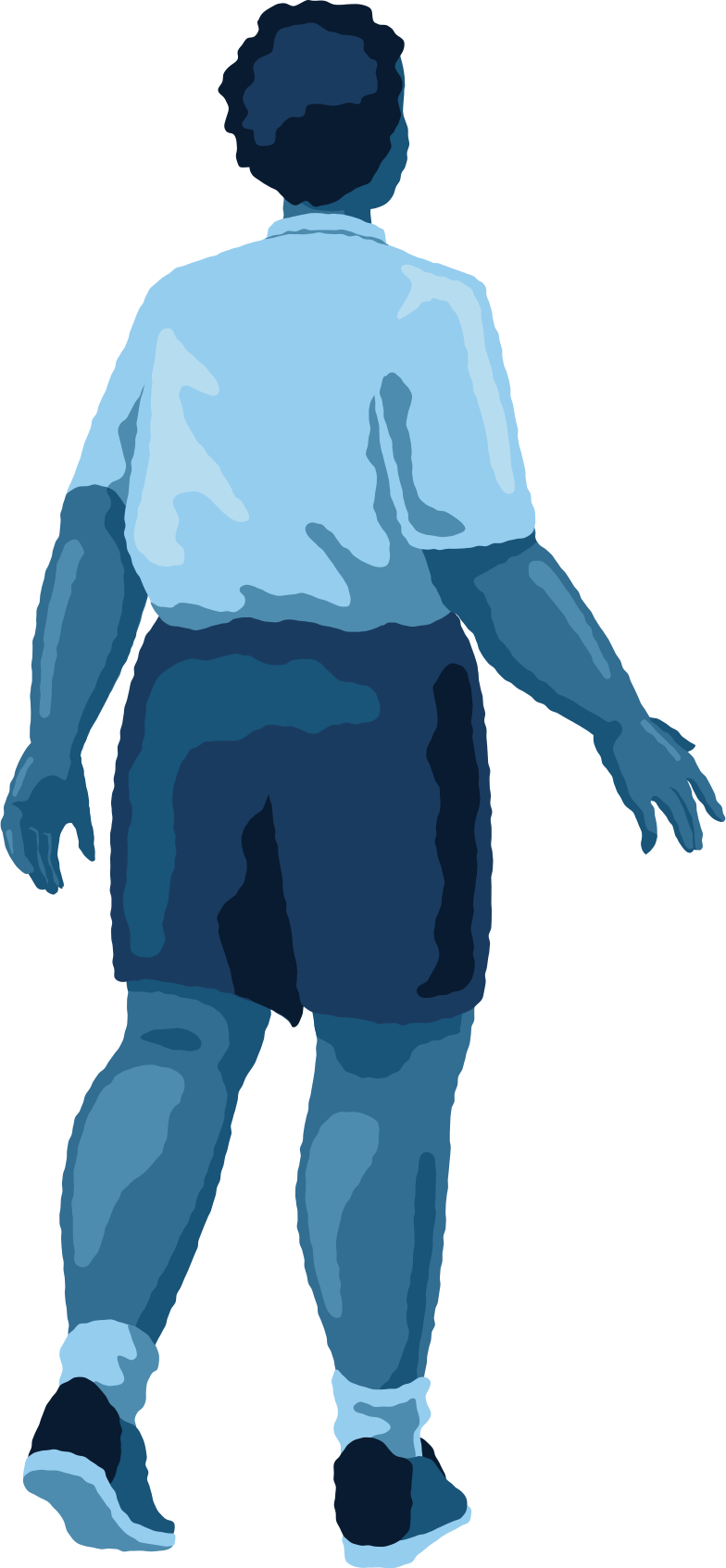 chubby man standing back Clipart illustration in PNG, SVG