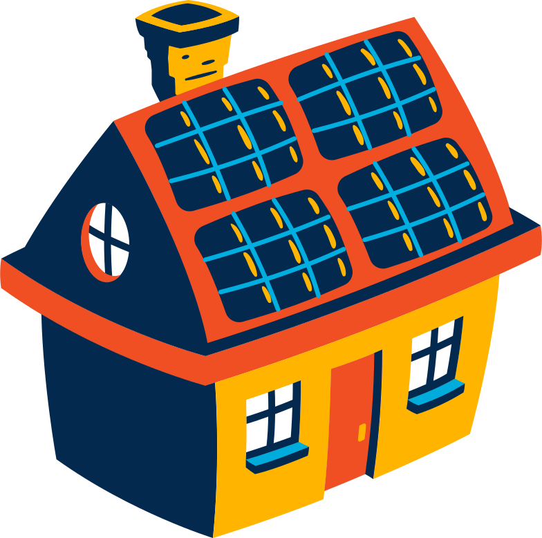 house with solar panels Clipart illustration in PNG, SVG