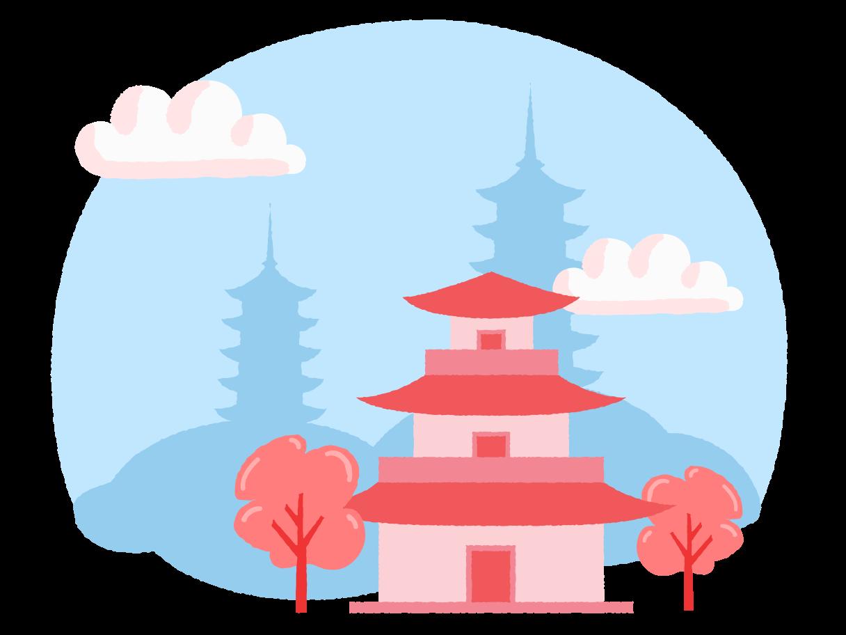Japanese landscape Clipart illustration in PNG, SVG