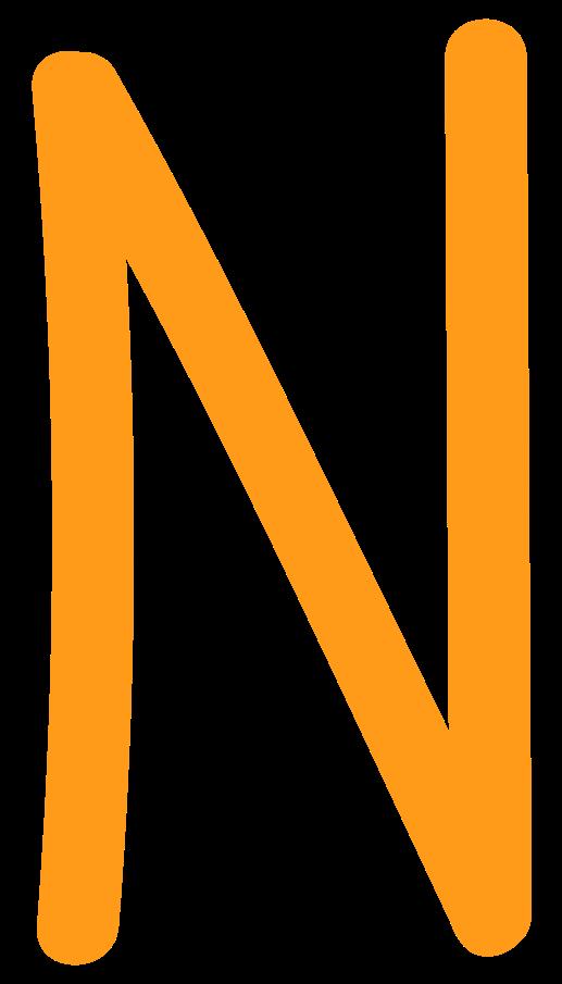 Ilustración de clipart de N amarillo en PNG, SVG