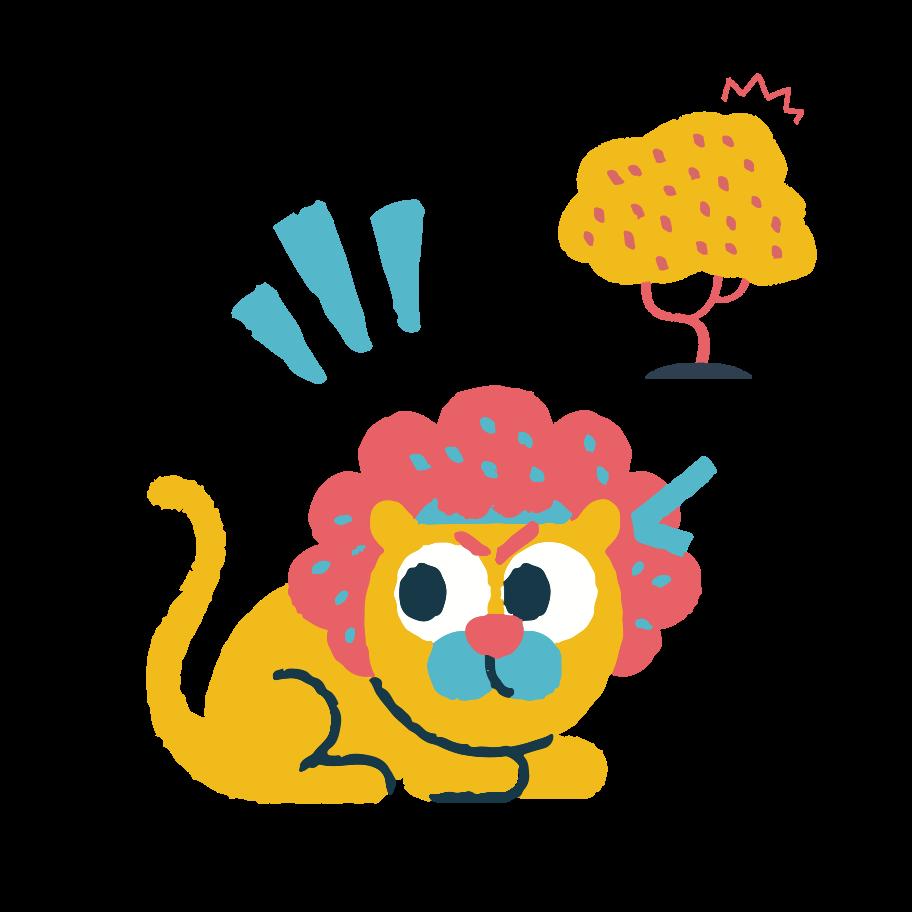 Alerted lion Clipart illustration in PNG, SVG
