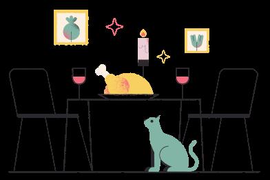 Иллюстрация Стол благодарения в стиле  в PNG и SVG | Icons8 Иллюстрации