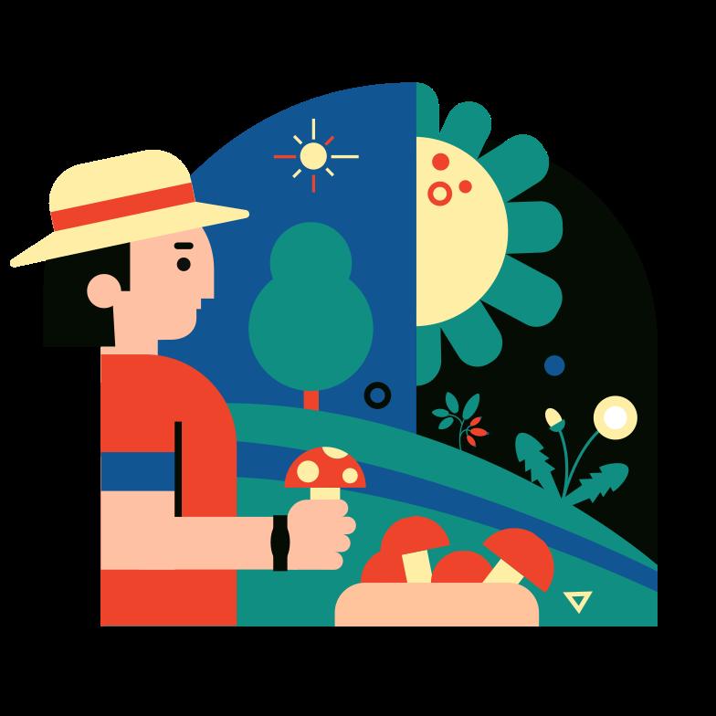 Mushroomer Clipart illustration in PNG, SVG