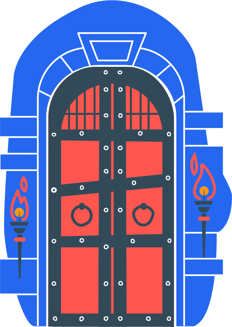 door with a torch Clipart illustration in PNG, SVG