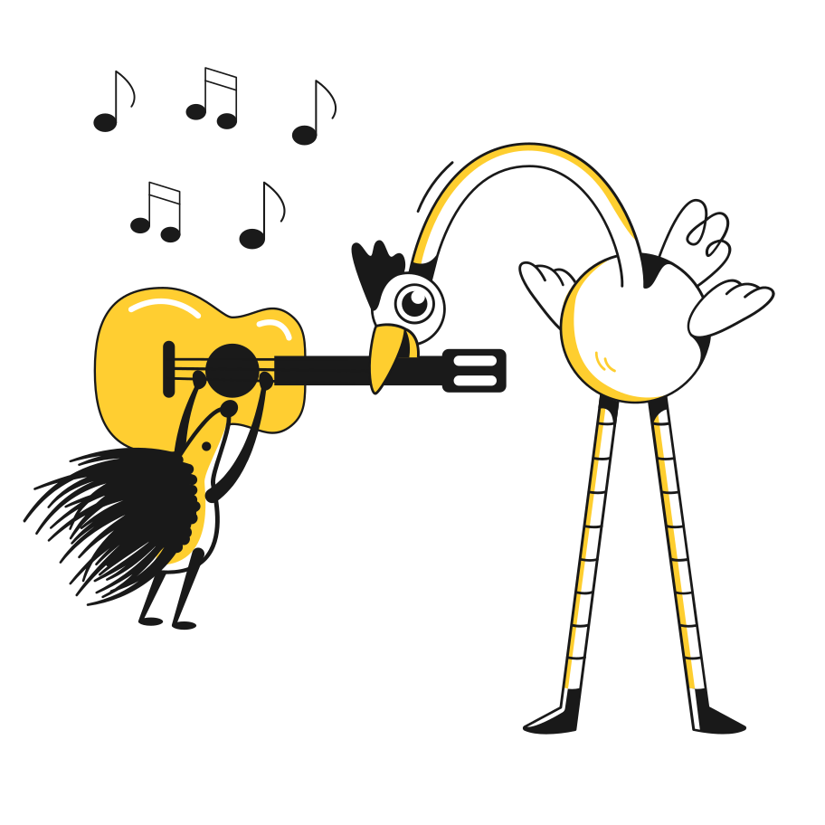 Playing guitar Clipart illustration in PNG, SVG