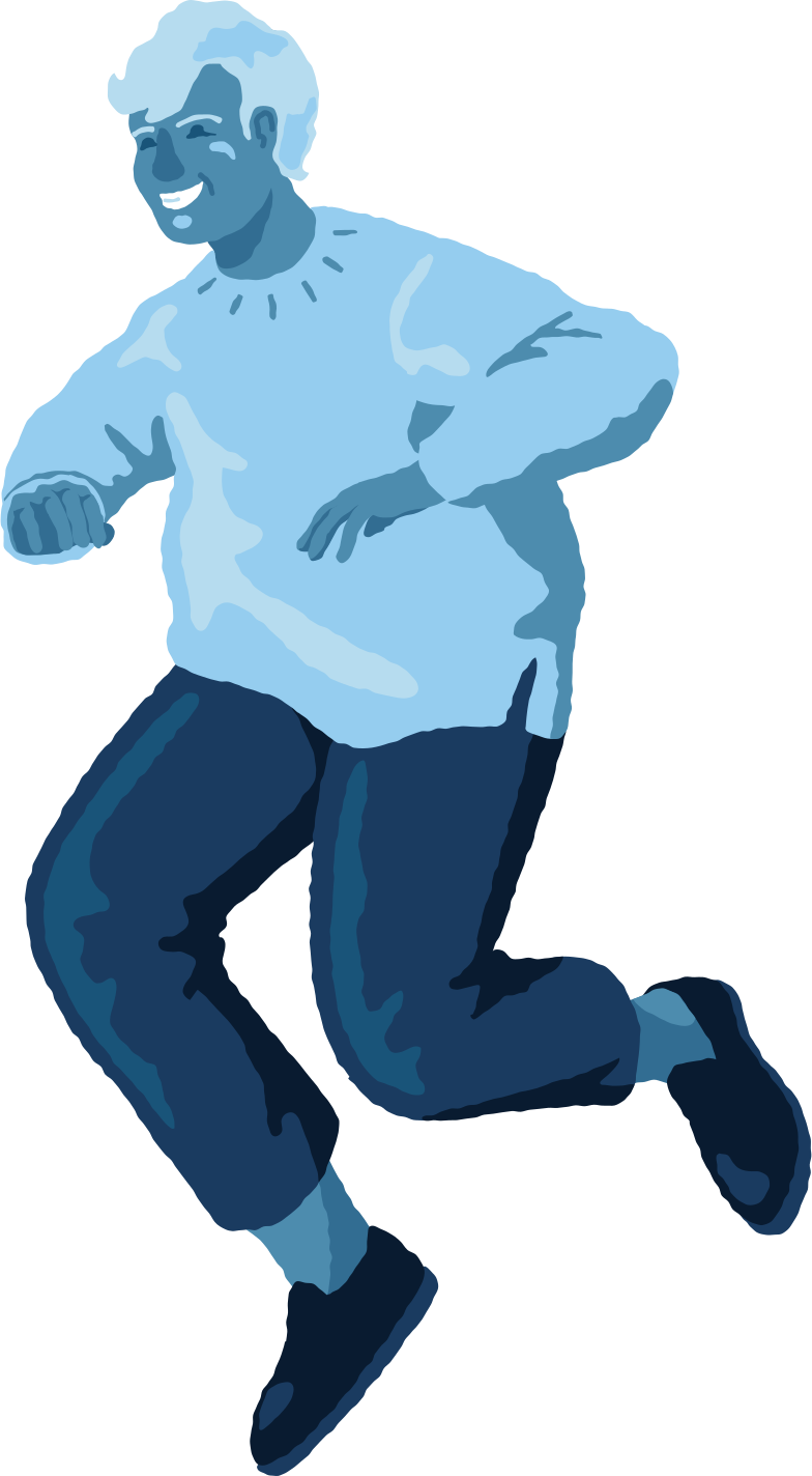 chubby man jumping front Clipart illustration in PNG, SVG