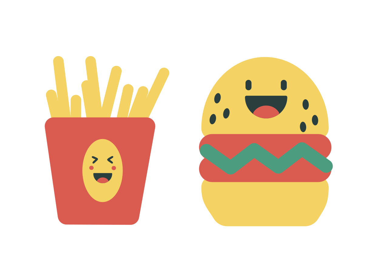 Hamburger and french fries Clipart illustration in PNG, SVG